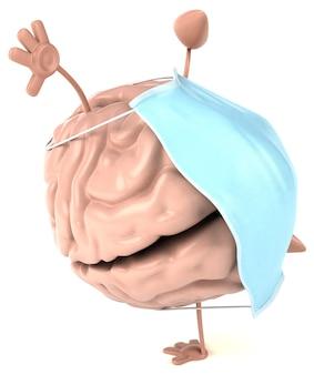Concept van een brein met een masker