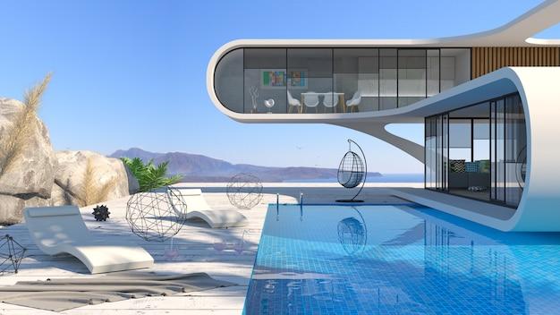 Concept van een futuristische moderne villa aan zee met een zwembad