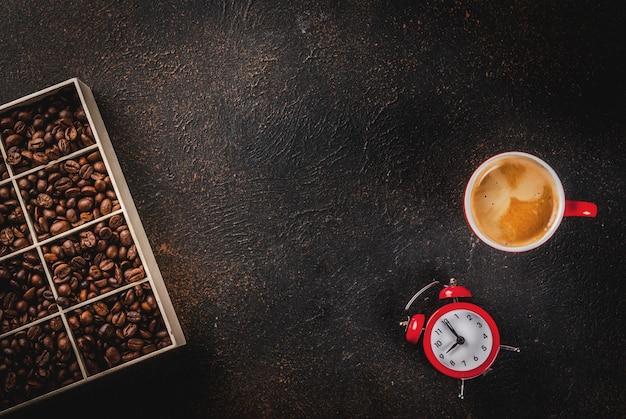 Concept van een vrolijke, goede start van de dag, ochtend koffie