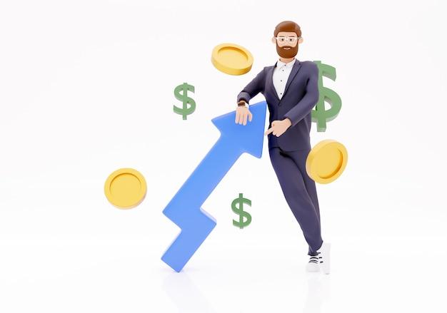 Concept van financiële groei. dashboard met de analyse van financiën. cartoon karakter zakenman 3d illustratie op witte achtergrond.