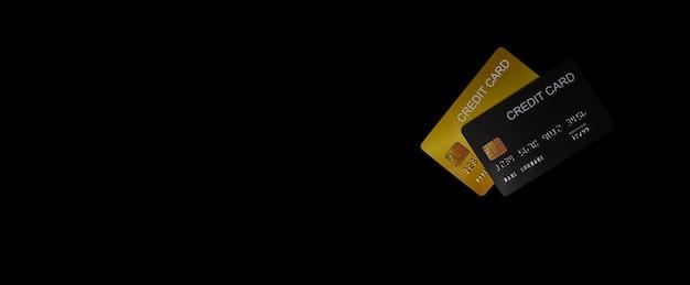 Concept van financiën, bankwezen en creditcard, creditcard op zwarte achtergrond, ontwerp banner achtergrond