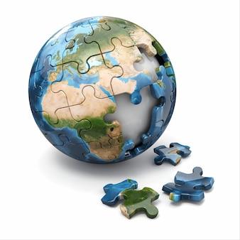 Concept van globalisering. aarde puzzel. 3d