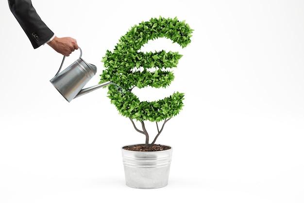 Concept van groene economie. plant met geldsymbool. 3d-weergave