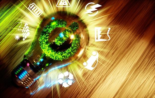 Concept van groene energie-innovatietechnologie. 3d computer gegenereerde afbeelding.