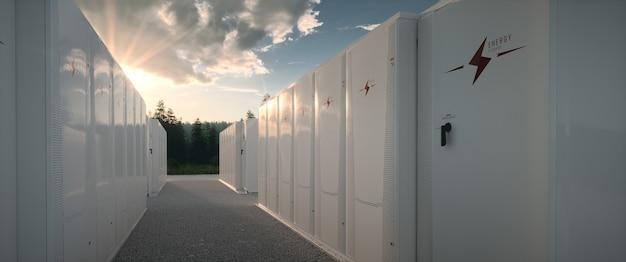 Concept van hernieuwbare energie batterij opslagsysteem in de natuur. 3d-rendering