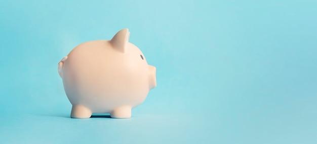 Concept van het bewaren en besparen van geld. roze spaarvarken op een blauwe achtergrond. zijaanzicht