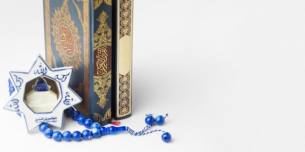 Concept van het close-up het islamitische nieuwe jaar met exemplaarruimte