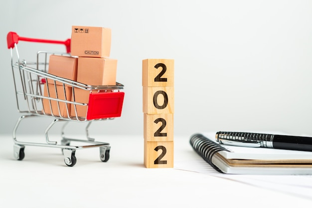 Concept van het kopen en leveren van goederen uit winkels in