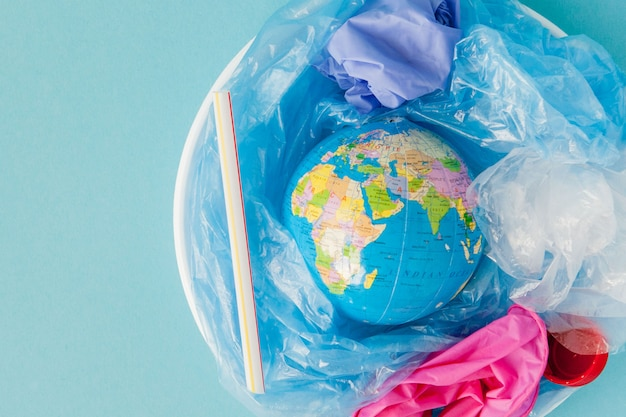 Concept van het verminderen van plastic zakken