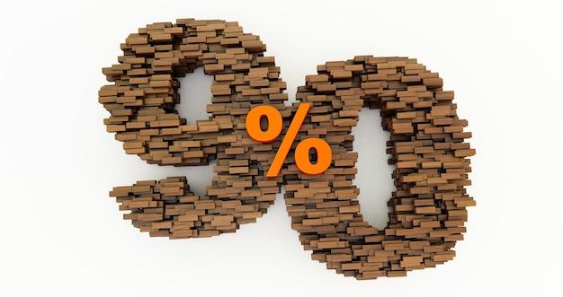 Concept van houten stenen die worden opgebouwd om de 90% korting te vormen, promotiesymbool, houten 90 procent. 3d render, negentig