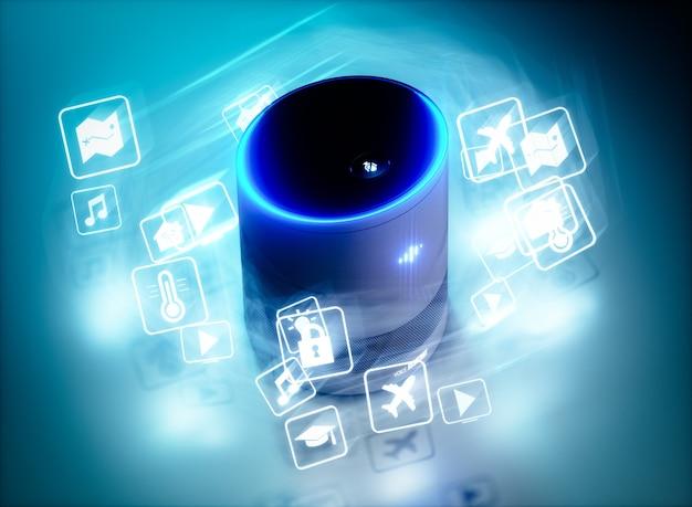 Concept van intelligente spraakgestuurde assistent voor thuis met pictogrammen voor spraakopdrachten. 3d-renderingconcept van hi-tech futuristische kunstmatige intelligentie spraakherkenningstechnologie.
