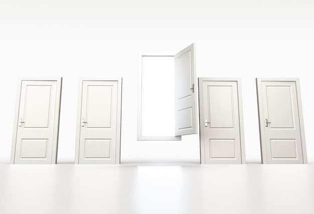 Concept van kans en kans. rij gesloten witte deuren. licht schijnt door een open. 3d render Premium Foto