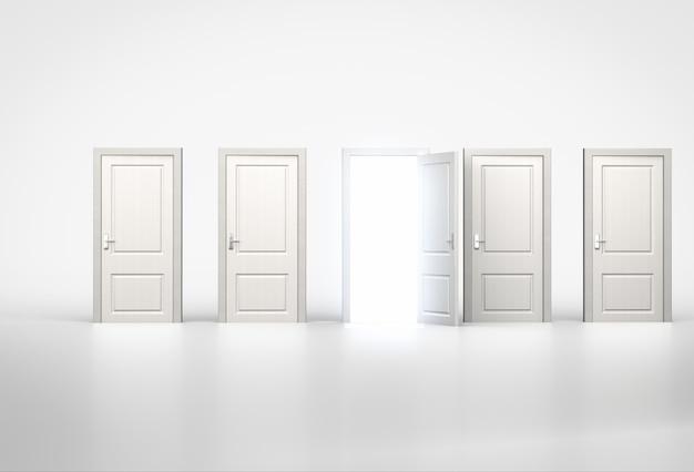 Concept van kans. licht schijnt door een deur in een rij gesloten deuren. 3d render