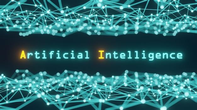 Concept van kunstmatige intelligentie, met de woorden kunstmatige intelligentie, een blauwe toon, samengesteld uit lijnen en punten die een netwerk vormen in wetenschap en technologie - 3d-weergave.