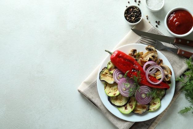 Concept van lekker eten met gegrilde groenten, ruimte voor tekst