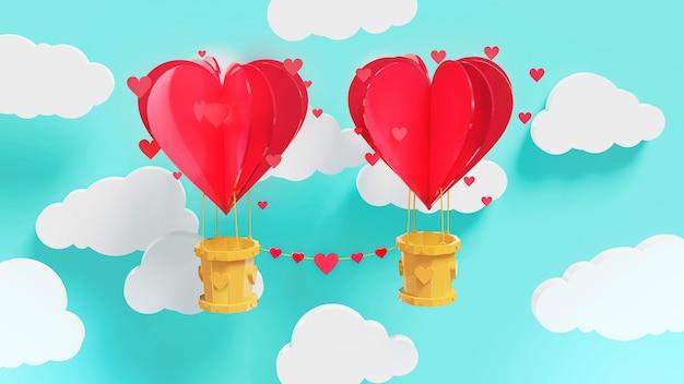 Concept van liefde en valentijnsdag. 3d papierkunst van hartballon die en klein hartje in de lucht, origami en valentijnsdag vliegen en verspreiden. symbool van liefde op zoete blauwe achtergrond, wenskaart.