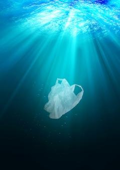 Concept van milieubescherming. plastic zakvervuiling in oceaan