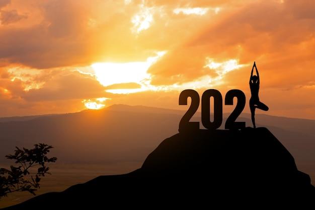 Concept van nieuw silhouet van vrouw yoga stand op de berg met jaar