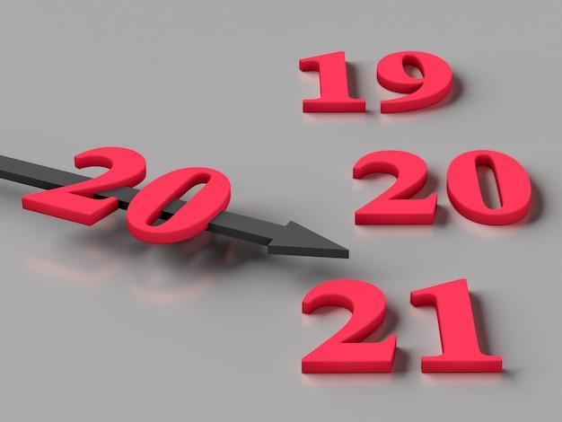 Concept van nieuwjaar 2021. de pijl met nummer 20 wijst naar het cijfer 21
