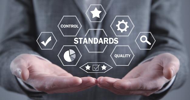Concept van normen. kwaliteitscontrole. bedrijfsconcept