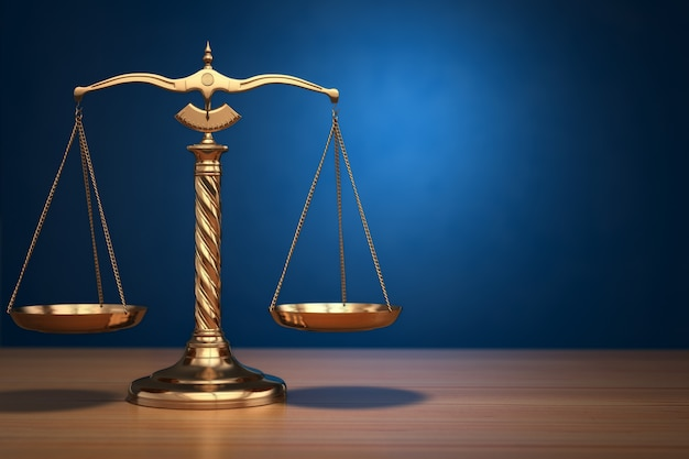 Concept van rechtvaardigheid. wet schalen op blauwe achtergrond. 3d