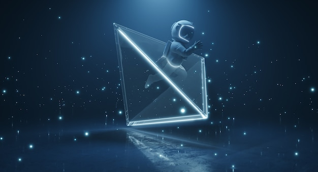 Concept van science fiction en kosmische kunst 3d-rendering