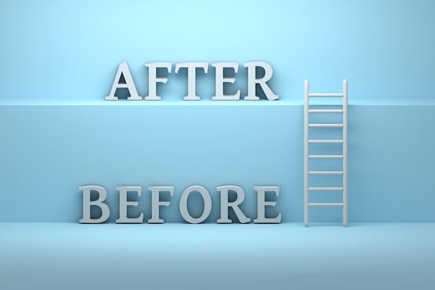 Concept van verandering met twee grote vetgedrukte woorden before and after die op een ander niveau staan