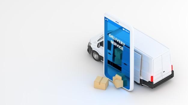 Concept van verzending online bezorgservice. witte bestelwagen en mobiele telefoon. 3d-weergave
