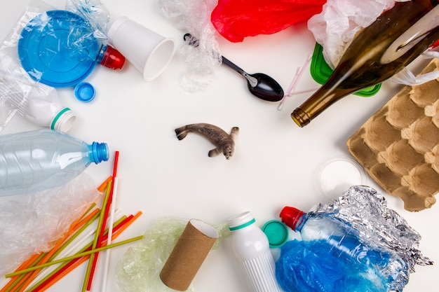 Concept van wereldmilieudag. iemands hand houdt de blauwe vinvis in een plastic zak.