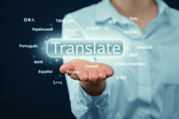 Concept van werk aan vertaling uit verschillende talen.