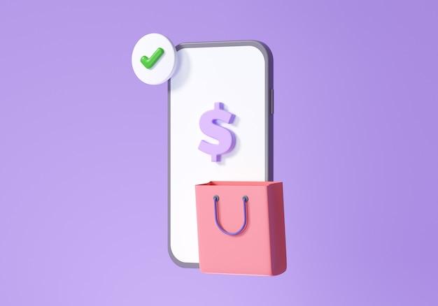Concept voor een online winkeltoepassing, e-commerce, smartphone winkelen en promotiepictogrammen. 3d render illustratie