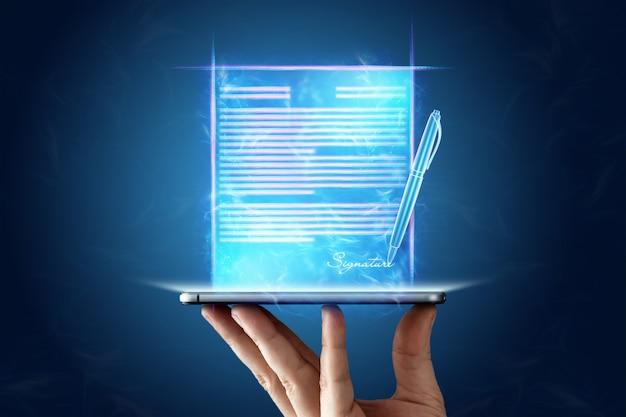 Concept voor elektronische handtekening, zaken op afstand, mobiele telefoon en contracthologramafbeelding voor ondertekening. samenwerking op afstand, kopieer ruimte. gemengde media.