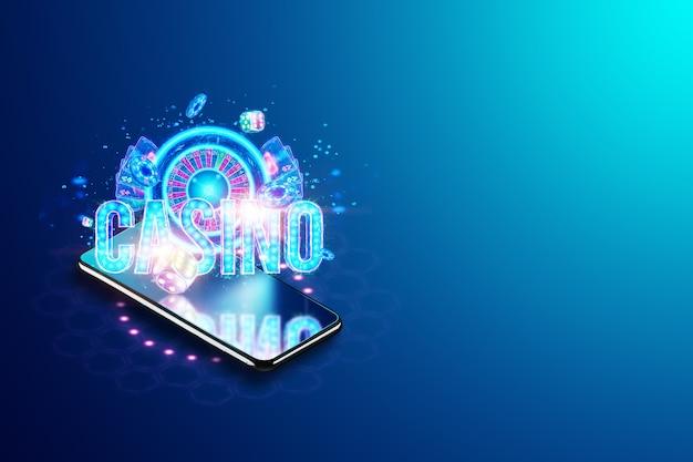 Concept voor online casino, gokken, online geldspellen, weddenschappen. smartphone en neon casino bord, roulette en dobbelstenen. sitekoptekst, flyer, poster, sjabloon voor reclame. 3d illustratie, 3d render.