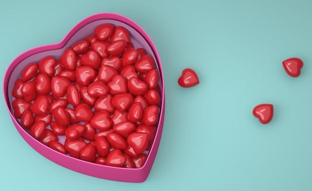 Concept voor valentijnsdag. doos met rode hartjes. 3d-afbeelding. 3d render.