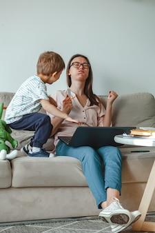 Concept werk thuis en thuis familie onderwijs