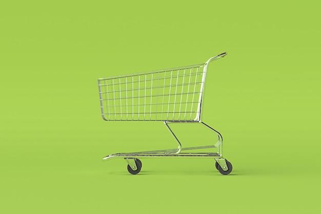 Concept winkelwagenkarretje op groene achtergrond met wat exemplaarruimte. 3d-afbeelding