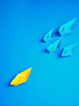 Concept zakelijke schip boot blauwe achtergrond