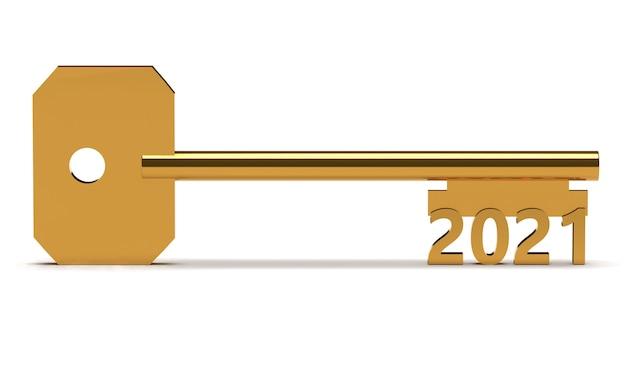 Conceptensleutel met nieuw jaar 2021 dat op wit wordt geïsoleerd. 3d-weergave