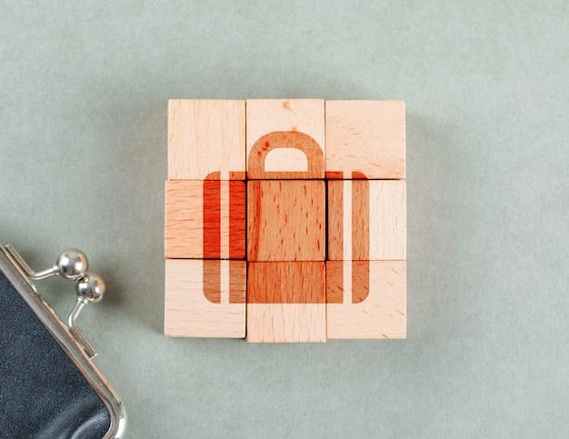 Conceptueel bedrijf met houten blokken met bovenaanzicht van het werkmappictogram.