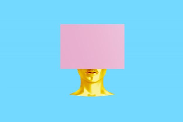 Conceptueel beeld van een vrouwelijk hoofd met een kubus in plaats van een kapsel