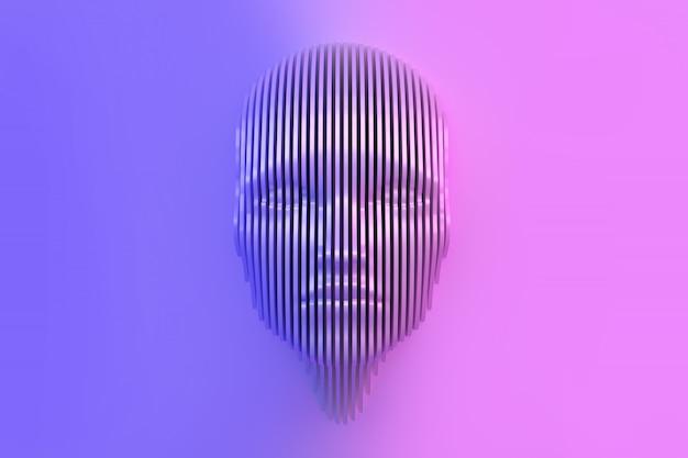 Conceptueel beeld van het vrouwelijke hoofd dat uit de muur is gesneden en uit de muur komt.