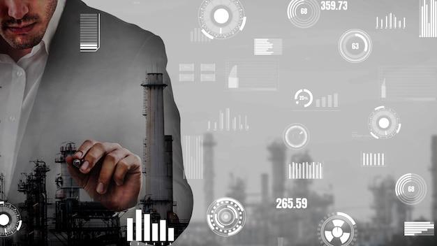 Conceptueel dashboard met branchegegevens dat de machinestatus weergeeft
