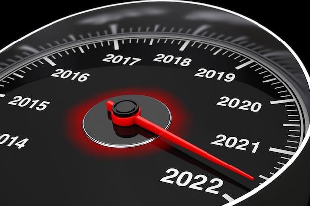 Conceptuele 2022 nieuwjaar snelheidsmeter op een zwarte achtergrond. 3d-rendering