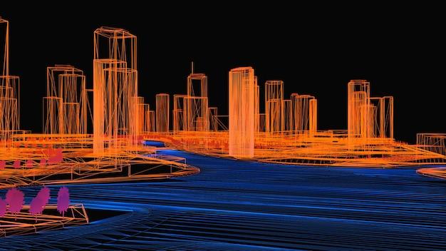 Conceptuele 3d illustratie van een nachtstad met verlichting van gloeiend water. 3d-rendering.