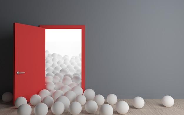 Conceptuele binnenlandse ballen en deuren