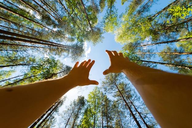 Conceptuele fotografie. mannelijke handen die omhoog hemel bereiken. onbekende man smeekt de hemel. hoop en geloofsidee. foto van onderen.