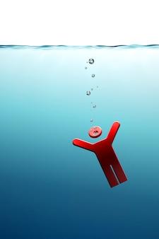 Conceptuele illustratie van de drenkeling in de zee