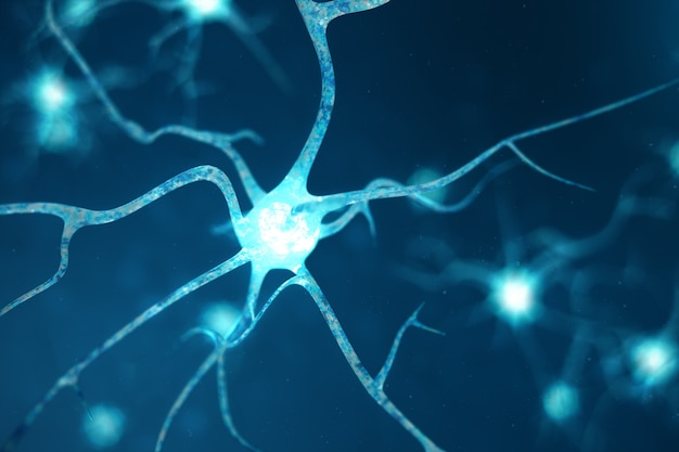 Conceptuele illustratie van neuroncellen met gloeiende koppelingsknopen. neuronen in de hersenen met focuseffect. synaps- en neuroncellen die elektrische chemische signalen verzenden. 3d-afbeelding