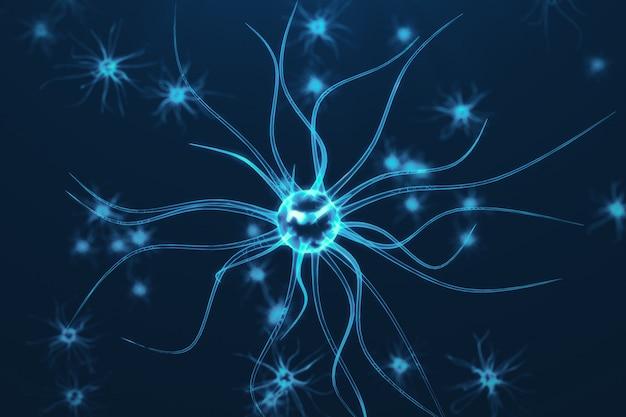 Conceptuele illustratie van neuroncellen met gloeiende koppelingsknopen. synaps- en neuroncellen die elektrische chemische signalen verzenden. neuron van onderling verbonden neuronen met elektrische pulsen, 3d-rendering