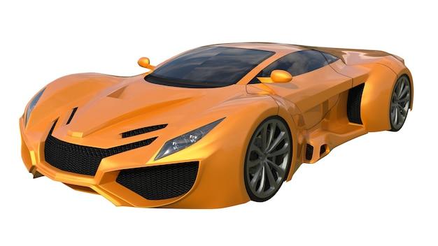 Conceptuele oranje raceauto's. 3d illustratie.